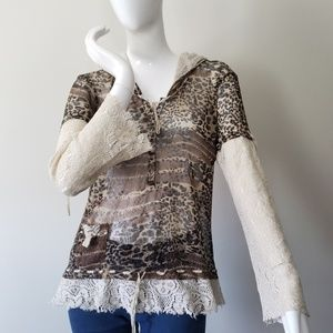 Alberto Makali animal print sheer lace top